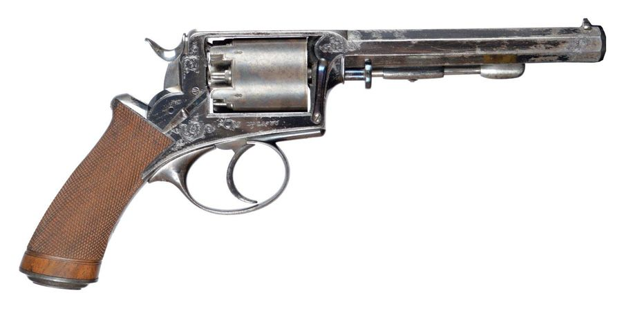 A 54 bore Beaumont Adams five shot percussion revolver retailed by Wilkinson and…