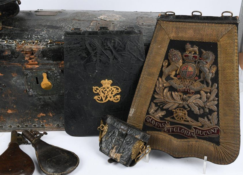 A collection of Victorian militaria, comprising: a Royal Artillery officers dres…