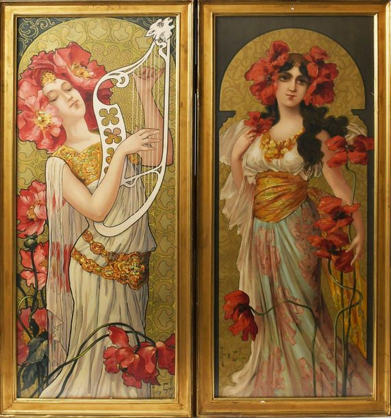 Mary Galay (born 1869) A pair of lithographic prints of Art Nouveau maidens, one…