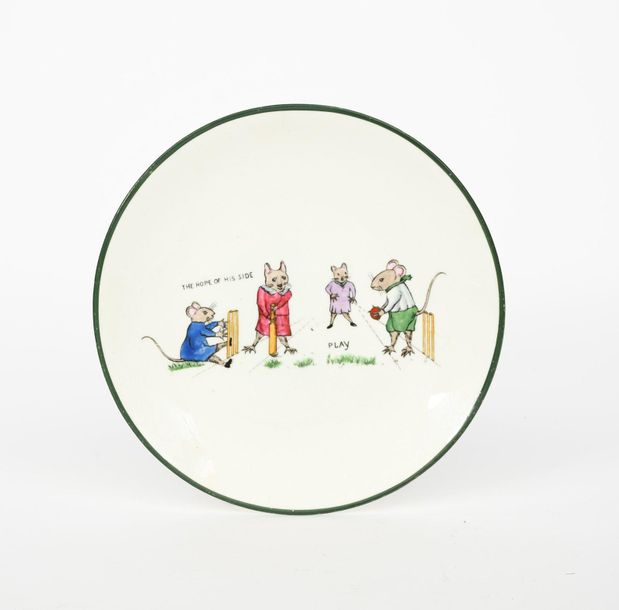 A bisque porcelain model of a cricketer designed by John Hassall, modelled in wh…