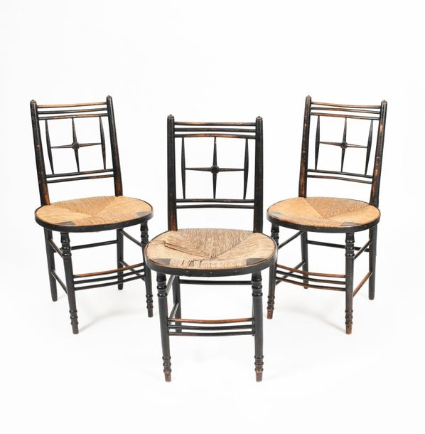 Three Morris & Co Sussex ebonised wood chairs, possibly designed by Ford Maddox …
