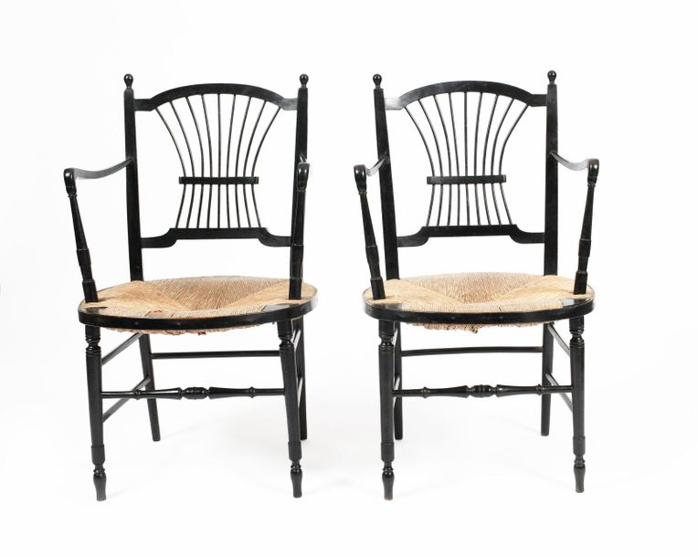A pair of Morris & Co ebonised wood Rossetti chairs possibly designed by Dante G…