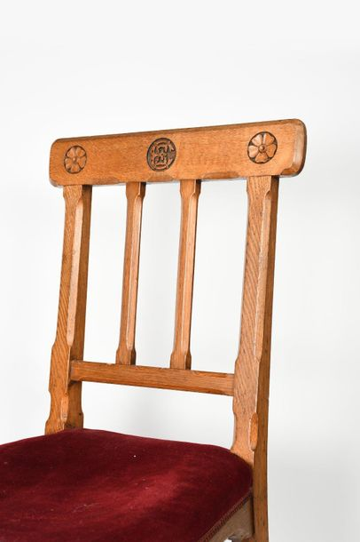 An oak side chair designed by Augustus Welby Northmore Pugin, chamfered decorati…