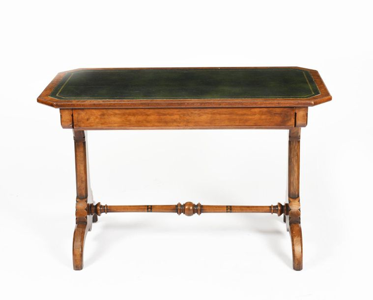 A Marsh & Jones library desk, the rectangular top with inlaid leather writing su…