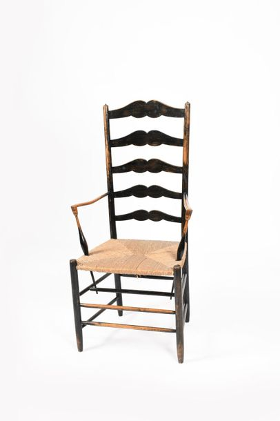 An ebonised ash Gimson high back armchair by Edward Gardiner, the back with five…