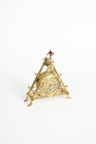 A rare Reformed Gothic brass mantel clock designed by Bruce Talbert, probably ma…