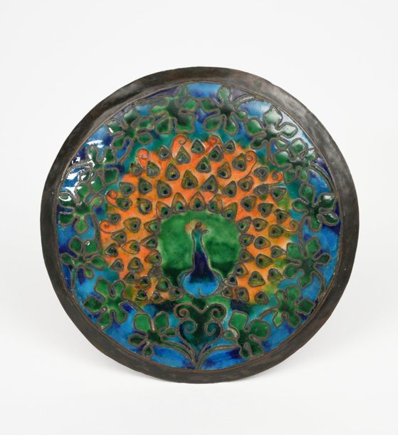 An Arts and Crafts patinated copper and enamel circular box, possibly American i…