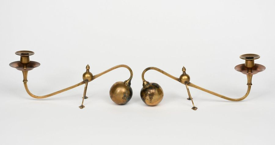 A pair of W A S Benson cantilever candlesticks, ball counterweight, the scroll s…