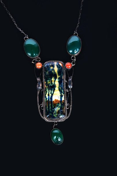 A George Hunt silver and enamel pendant necklace, wirework frame with leaf motif…