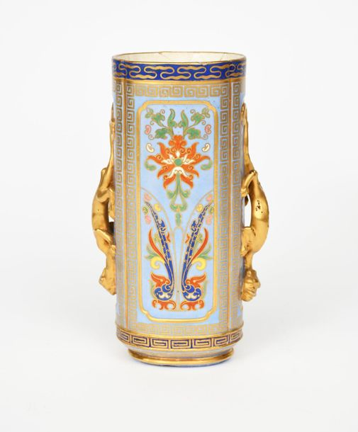 An Aesthetic Movement Coalport vase, elliptical, cylindrical form applied with t…