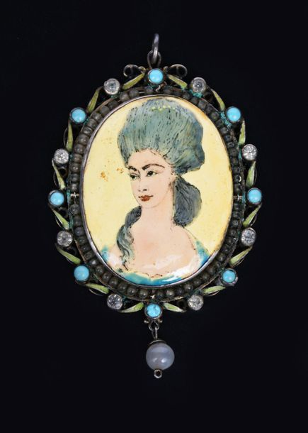 A George Hunt silver and enamel portrait pendant of Anne Lutterell Duchess of Cu…