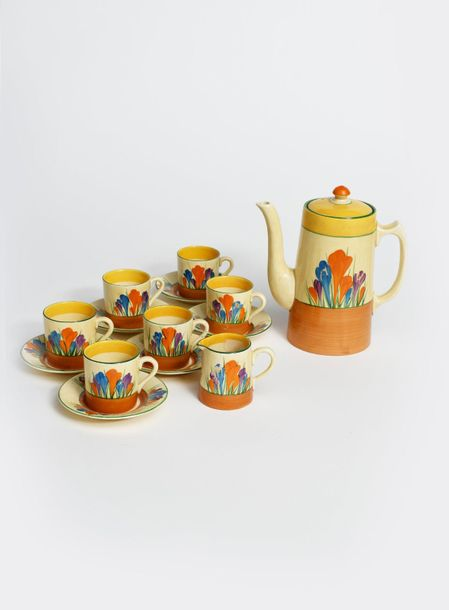 Crocus' a Clarice Cliff Bizarre Tankard coffee set for six, painted in colours b…