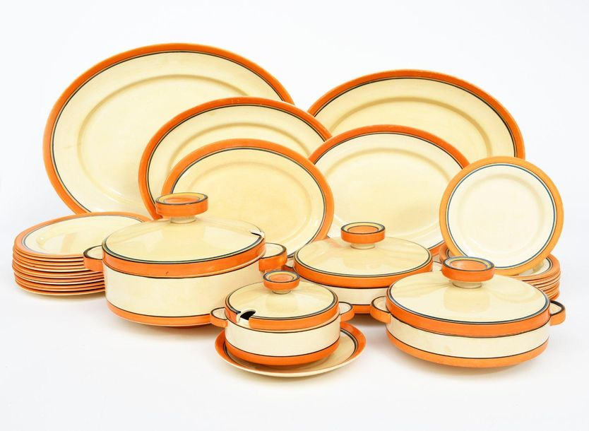 A Clarice Cliff Fantasque Bizarre dinner service, retailed by Lawleys, dated 193…