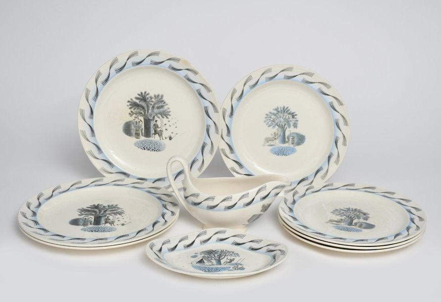 Garden a Wedgwood part dinner service designed by Eric Ravilious, printed in blu…