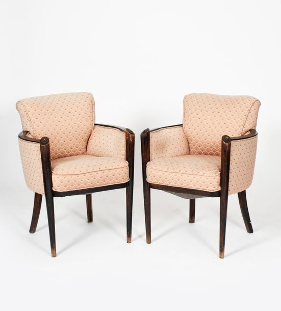 A pair of Hille walnut arm chairs, tapering legs rising to carved scroll termina…