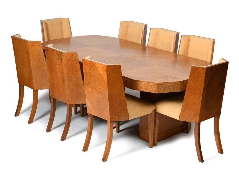 An Epstein satinwood table and eight chairs designed by Harry & Lou Epstein, pan…