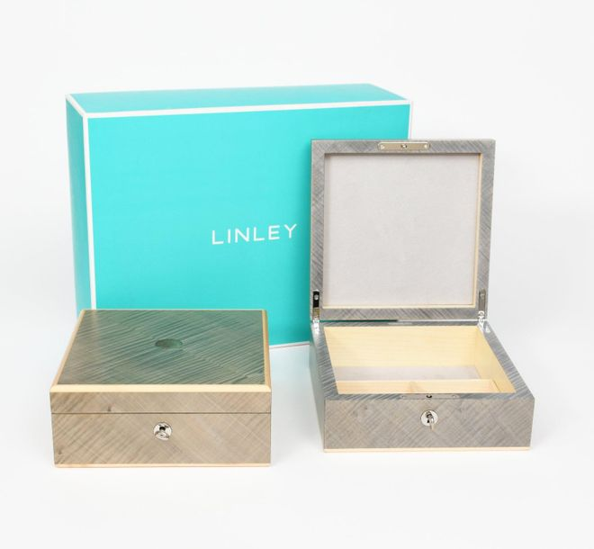 A Linley table box designed by David Linley, square section with hinged cover, e…