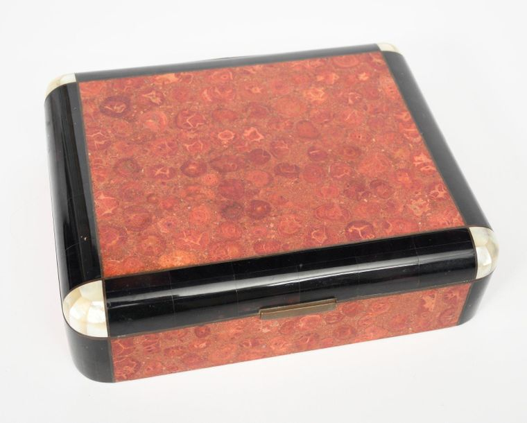An Art Deco inlaid box with hinged cover, cedar lined, the box inlaid with red m…