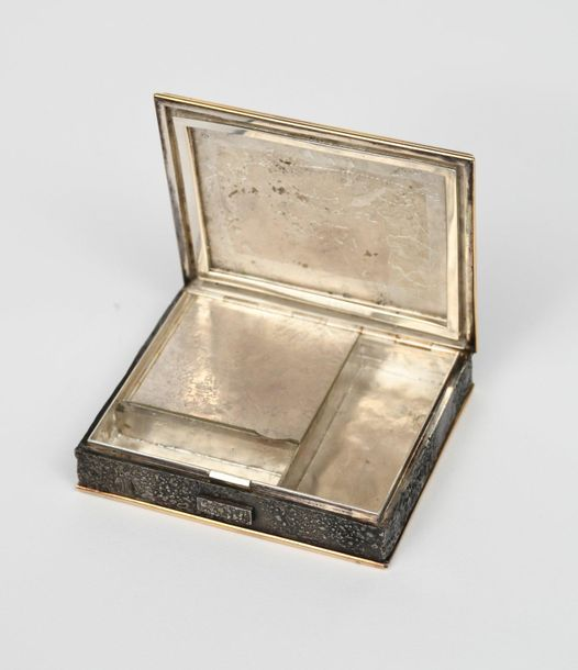 A Line Vautrin silver and bronze minaudiere, rectangular form with hinged cover,…