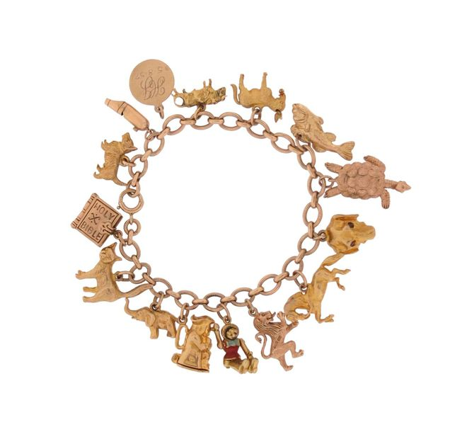 A gold charm bracelet, set with sixteen assorted gold charms, 55g total