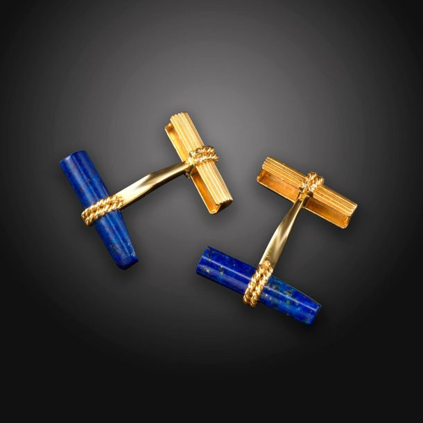A pair of French gold cufflinks, with fluted and ropetwist decoration in gold, w…