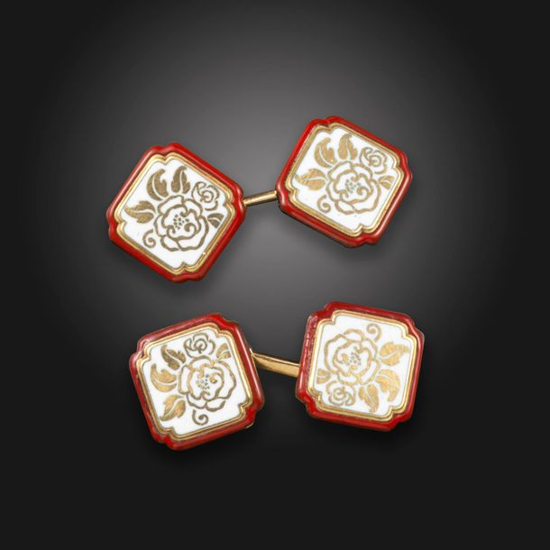 A pair of early 20th century enamel and gold cufflinks by Cartier, of chamfered …