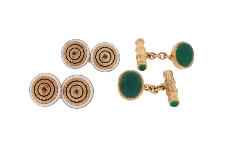A pair of chrysoprase and gold cufflinks, the stylised wood design with chrysopr…