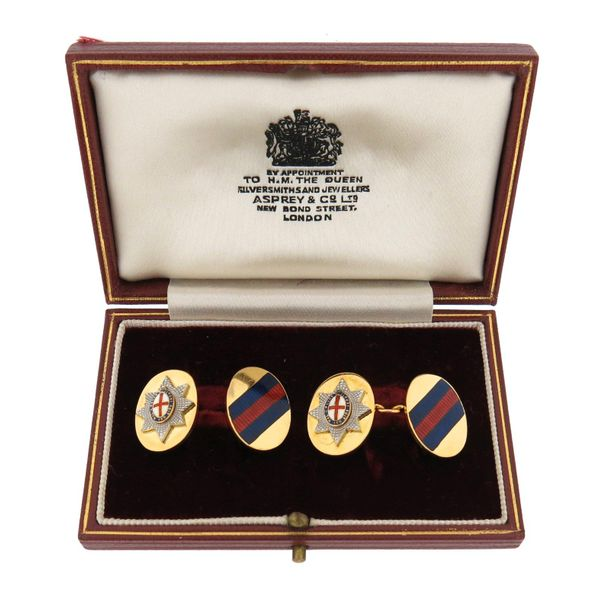 A pair of Regimental 18ct gold and enamel cufflinks, for the Coldstream Guards, …