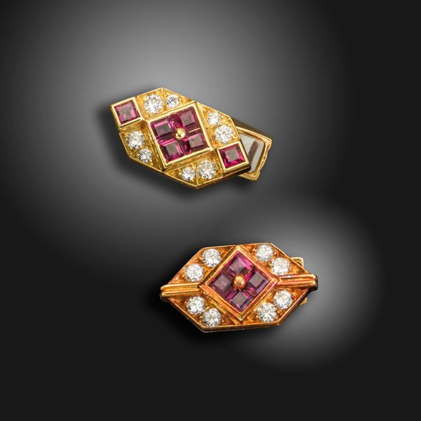 A pair of ruby and diamond set cufflinks by Fred, each link centred with square …