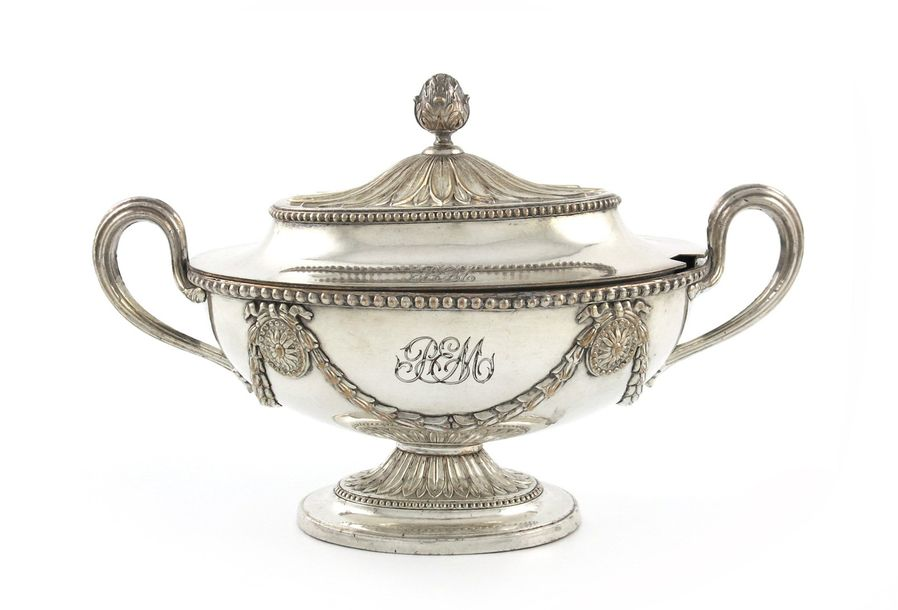 A George III old Sheffield plated sauce tureen and cover, unmarked, probably by …