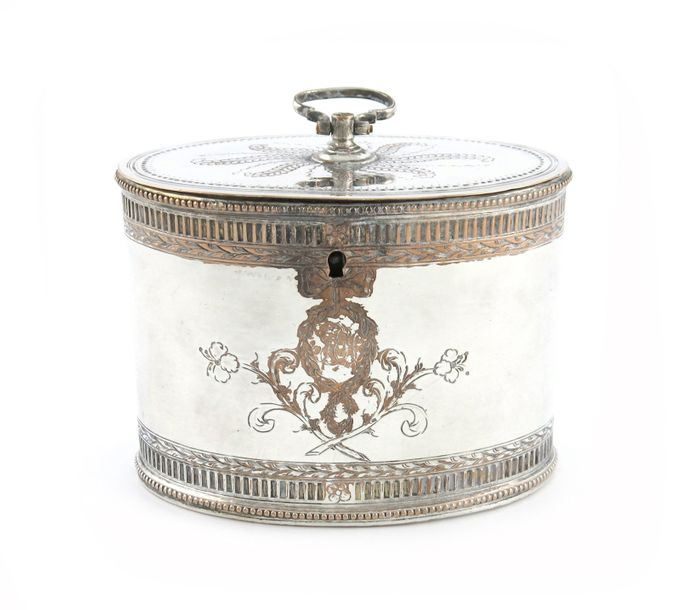 A George III old Sheffield plated tea caddy, unmarked, circa 1775, oval form, fl…