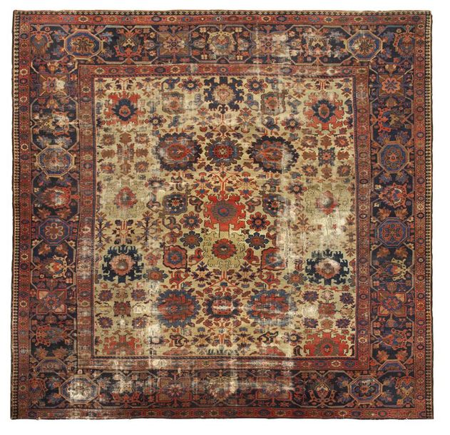 A fine 19th century North West Persian carpet of Harshang design, of unusual squ…