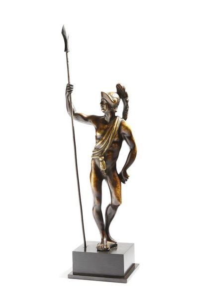 A Flemish bronze figure of Mars the Roman God of War, wearing a plumed helmet an…