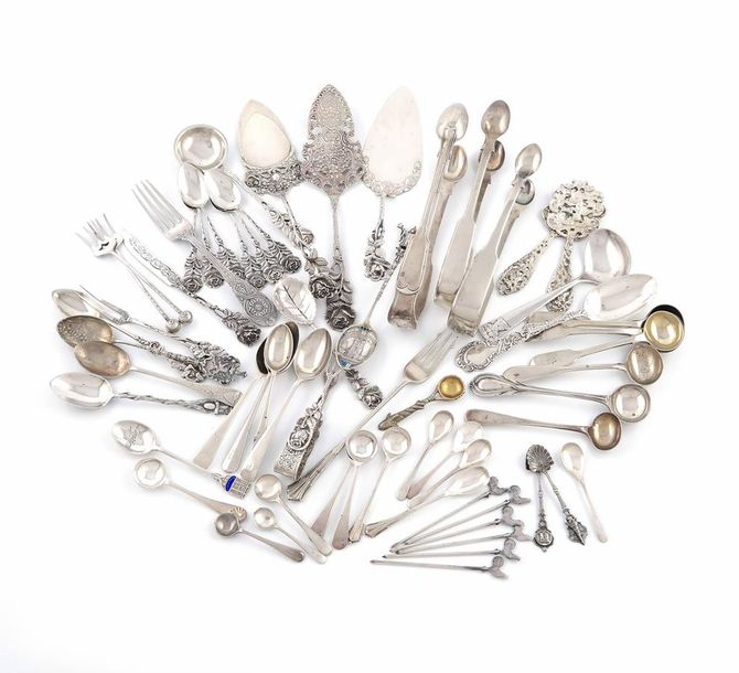 A mixed lot of silver flatware, various dates and makers, comprising: four pairs…