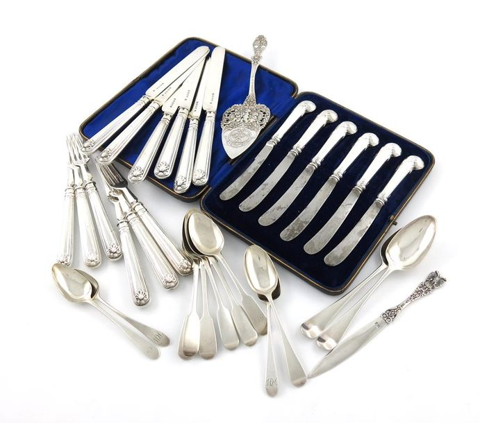 A mixed lot of silver flatware, various dates and makers, comprising: a set of s…