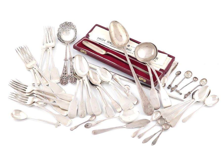 A mixed lot of silver flatware, various dates and makers, comprising: a George I…
