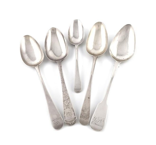A mixed lot of silver flatware, comprising: a George III Old English pattern tab…