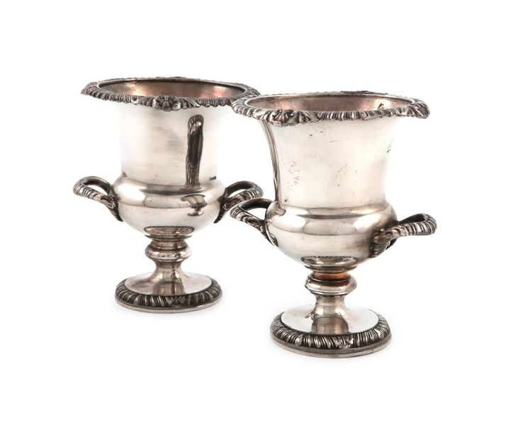 A pair of continental silver vases, with pseudo Fabergé marks, campana urn form,…