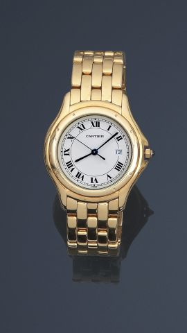 "CARTIER, Bracelet montre ""COUGAR"" en or jaune, 750 MM, grand modèle, N°s 887904…"