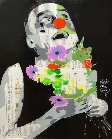 MIMI THE CLOWN (Né en 1974), Pochoir original sur feuille de journal (Le Monde),…