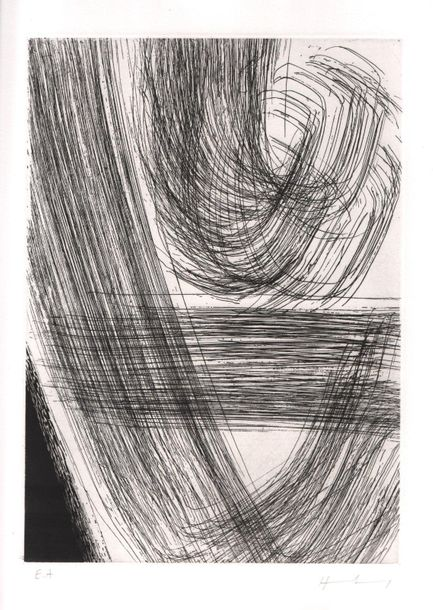 Hans HARTUNG (1904 1989) Composition Lithographie, 59 x 45 cm (planche), mention…