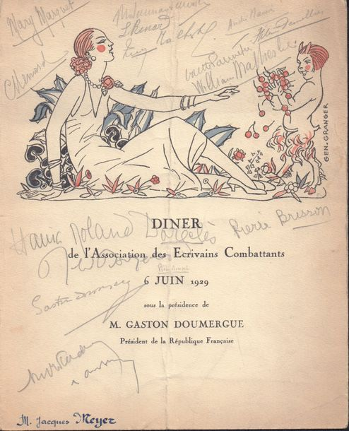 LOT DE MENUS ET DOCUMENTATIONS SUR LE FILM ORPHEE DE COCTEAU Diner de « L'Association…