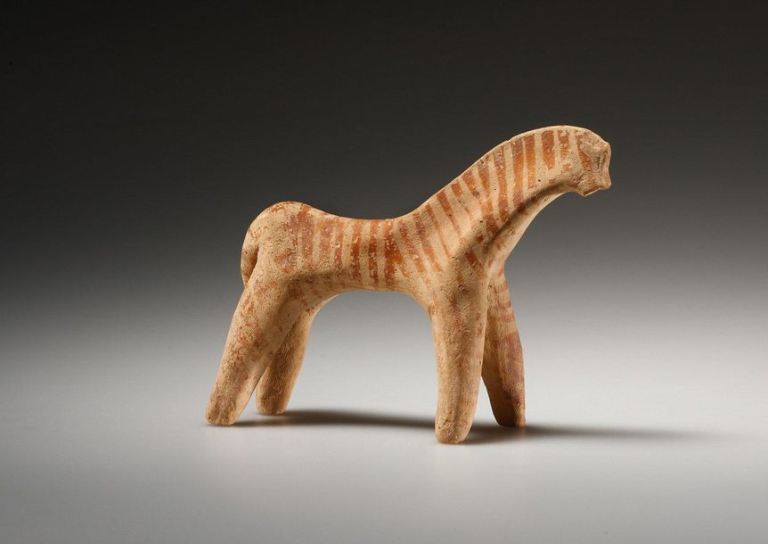 A Statuette of a Boeotian Horse Greek, Boeotian 6th cent. B.C..  Terracotta. H. …