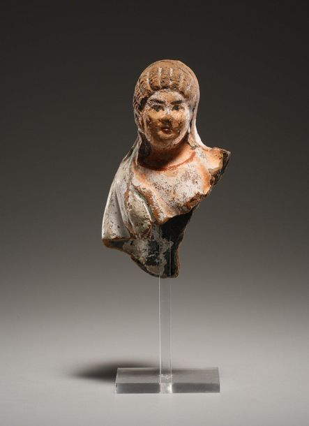 Upper Part of a Female Statuette Ptolemaic 3rd cent. B.C..  Terracotta, polychro…