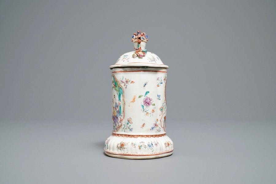 A Chinese famille rose pocket watch holder with mandarin design, Qianlong A Chin…