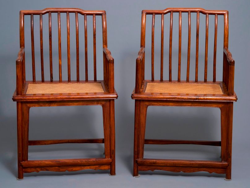 A pair of Chinese huanghuali wood chairs, Republic A pair of Chinese huanghuali …