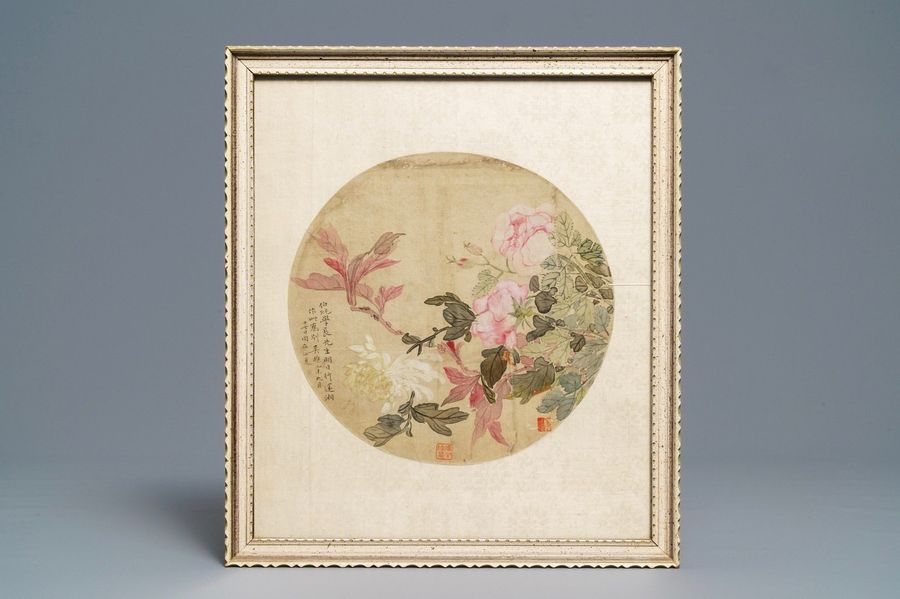 Chinese school, 18/19th C., watercolour and ink on silk: two floral fan leaves C…