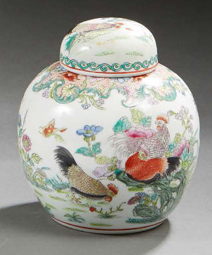 CHINE Pot à gingembre en porcelaine. Periode République. H.: 14 cm