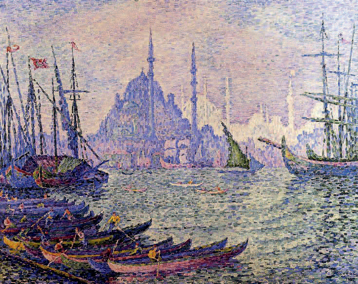 Paul SIGNAC (1863-1935) Voiliers devant Constantinople, 1907 Aquarelle sur traits…
