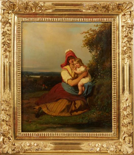 Julien Michel GUE (Saint Domingue 1789 - Paris 1843) Femme et son enfant dans un…